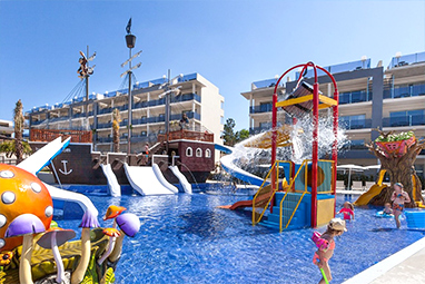 Water park with slides and pirate ship found in zafiro palace resort